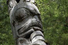 Weathered totem pole on Haida Gwaii, BC.