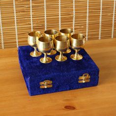 Hey, I found this really awesome Etsy listing at https://www.etsy.com/listing/213365121/vintage-brass-goblet-set-in-the-original