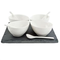 Basics Slate 9 Piece Teardrop Gift Boxed Square Dipping Set