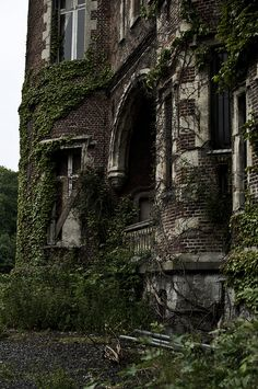 Chateau de la Foret - was built by architect Desire Athois Limburg. The abandoned castle has 344 windows and is surrounded by 62 acres of land. It now belongs to the children of the Count d'Ursel Aymard. The descendants cannot decided on a single owner and the castle has begun to fall into decay. Moulbaix, Arrondissement of Ath, Belgium.