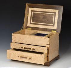 Wooden, 2 Drawer Jewelry Box - Birdseye Maple and Walnut. $429.00, via Etsy.