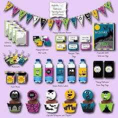 """free """"spooky faces"""" halloween printables {invite, banner, 8x10 welcome sign, party circles, cupcake wrappers, water bottle labels, favor boxes, tented cards, mini cards, favor bag tags and bookmarks}"""