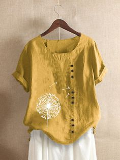 Floral Printed Short Sleeve Button T shirt For Women P1692770, Army / US 14