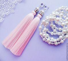 """Купить Серьги кисти """"Принцесса"""" с жемчугом Сваровски - бледно-розовый, розовый, цвет розовый кварц"""