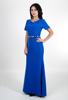 Синее платье с рукавами | Blue dress with sleeves
