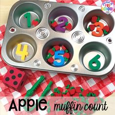 Apple muffin count game plus more apple activities and centers perfect for preschool, pre-k, and kindergarten. Preschool Activities At Home, Counting Activities, Autumn Activities, Kindergarten Classroom, September Preschool, Apple Prints, Apples To Apples Game, Apple Theme, Apple Coloring