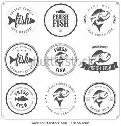 Set of made with fish stamps, labels and badges by Ivan Baranov, via ShutterStock