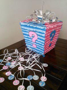 Piñatas~Gender Reveal Gift Box Pinata by SmashingFunCreations on Etsy. Gender Reveal Cupcakes, Gender Reveal Gifts, Gender Reveal Decorations, Gender Party, Baby Gender Reveal Party, Wedding Pinata, Baby Tea, Baby Shower Deco, Reveal Parties