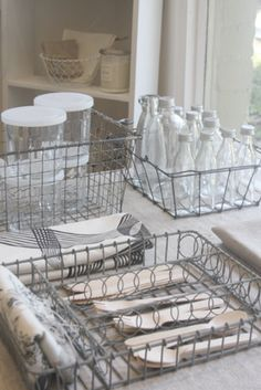Old wire dish racks can be used for beautiful visible storage ...