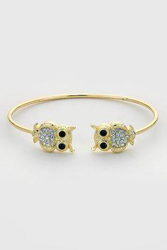 Crystal Owl Bracelet in Gold