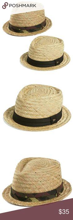 New Era EK Fedora Hat Straw Hat w/ Camouflage band around hat. New Era Accessories Hats