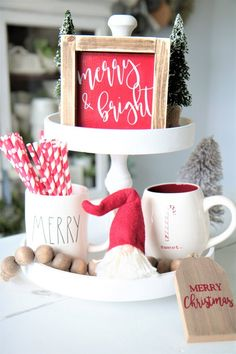 Rae Dunn Inspired MINI Christmas signs-Small Signs-Tier Tray Sign-Tiered and Bright-Red Sign-Seasonal-Framed Wood Sign- Christmas Coffee, Country Christmas, Christmas Time, Christmas Holidays, Christmas Decorations, Christmas Ornaments, Holiday Decorating, Christmas Ideas, Merry Christmas