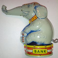 Vintage Tin Mechanical Bank by J. Metal Toys, Tin Toys, Vintage Circus, Vintage Tins, Elephant Illustration, Origami, Elephant Love, Electronic Toys, Vintage Games