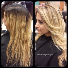 Before and After hair color correction.
