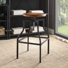 Carolina Lena Adjustable Bar Stool with Wood Seat - 5CF3314WT-CHETBK