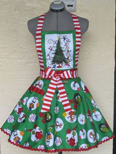 The Grinch Apron  Vintage Inspired Apron  by AquamarCouture, $50.00