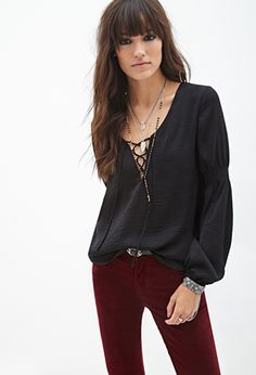 Lace-Up Peasant Blouse   FOREVER21 - 2000119619