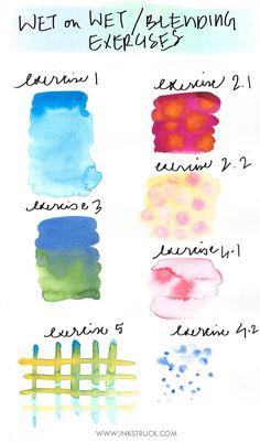 Watercolor techniques for beginners-Blending Zakkiya Hamza of Inkstruck Studio