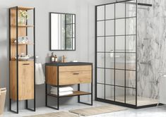 Industrial Loft Bathroom Furniture Set with Tall Cabinet Shelving Unit & Counter Top Vanity Sink Industrial Bathroom Vanity, Oak Bathroom, Bathroom Vanity Units, Bathroom Styling, Bathroom Sets, Bathroom Furniture, Furniture Vanity, Vanity Sink, Bathroom Black