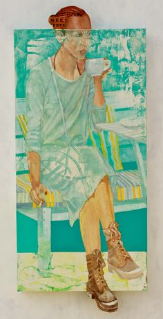 Oil on Wood painting with extended wood Canvas.  Painting of Girl drinking coffee or tea at the beach. Teal and Turquoise Painting of Woman Drinking Coffee or tea. Artist: Juan Francisco Adaro
