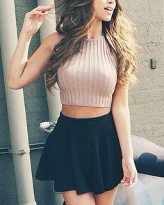 @roressclothes closet ideas #women fashion outfit #clothing style apparel Knit Crop top and Black Skirt