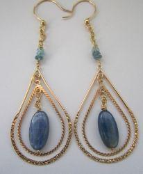 Kyanite Gold Hoop Earrings