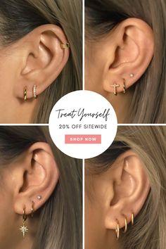 Affordable Huggie Hoop Earrings in Gold Vermeil, Sterling Silver, Rose Gold Vermeil. Hypoallergenic, Free U. Ear Jewelry, Cute Jewelry, Body Jewelry, Jewelery, Pretty Ear Piercings, Ear Peircings, Cute Earrings, Hoop Earrings, Accesorios Casual