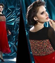Buy Red and black pure georgete embroidered kurti long-kurti online