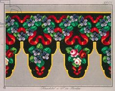 Pelmet pattern with roses, violets and ribbon, 19th century