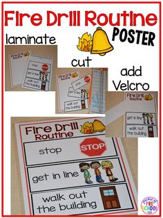 Fire drill book and routine poster to support students and make fire drills less stressful. Pocket of  Preschool