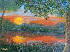 """Lakeside Sunset by Annie St Martin Acrylic ~ 11"""" x 14"""""""