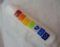 Taufkerze:+Regenbogen,+6+Symbole+