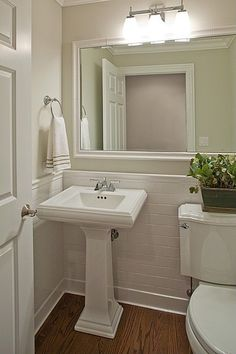 Hardwood, Pedestal, Crown molding, Cottage, Powder/Half Bath