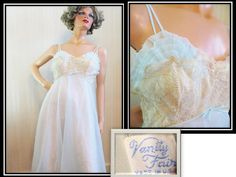 Vintage Nightgown, Vintage 50s 60s, Vanity Fair USA, Light Blue Nylon, with Beige Lace, Double Layer, Baby Doll, Bombshell for Sure by TomCatBazaar on Etsy