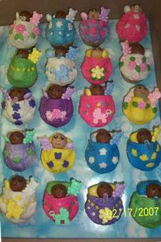 Photo of very Cute African/American Baby Cupcakes. Sleeping with baby bottles...Too Cute!  Modern Baby Shower Ideas Reply:  Those African American baby