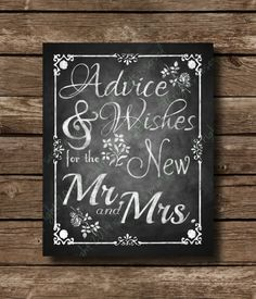 Advice & Wishes for the new Mr. and Mrs. - Chalkboard Wedding Sign - DIY Download and Print - Printable File