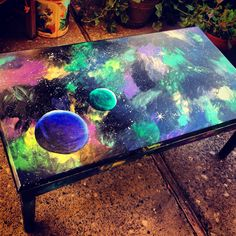 Galaxy painted coffee table  By Jennifer Carrier