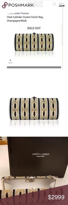 """Judith Leiber Couture Cylinder Crystal Clutch Bag Judith Leiber Couture Clark Cylinder Crystal Clutch Bag, Champagne/Multi •Judith Leiber """"Clark"""" cylinder clutch bag, fully beaded with Austrian crystals.  •Framed, hard-shell case.  •Top push-lock clasp.  •East-west silhouette.  •Inside, signature Judith Leiber plaque.  •Lamb leather lining.  •Made in Italy. Judith Leiber Bags Clutches & Wristlets"""