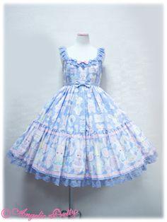 angelic pretty Fancy Paper Dolls JSK in Lav Harajuku Fashion, Kawaii Fashion, Lolita Fashion, Cute Fashion, Lolita Goth, Lolita Dress, Angelic Pretty, Japanese Fashion, Summer Dresses