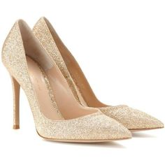 Gianvito Rossi Glitter Pumps (9 215 ZAR) ❤ liked on Polyvore featuring shoes, pumps, heels, gold, heel pump, gianvito rossi, gold heel pumps, glitter pumps and glitter shoes
