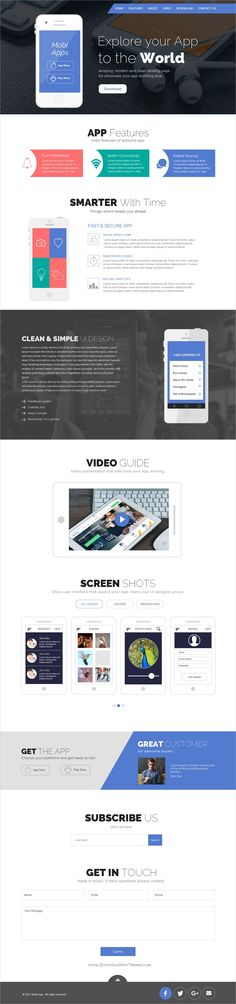 Creative apps is clean, modern and professional #PSD Template for #onepage #app showcase website download now➩ https://themeforest.net/item/creative-apps-template/19634438?ref=Datasata