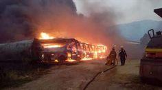 Controlado incendio de gran magnitud que afectó 51 autobuses Yutong en Guatire (+Video)