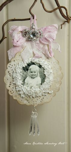 Imagine a tree decorated in such lovely vintage shabby chic style ornaments -- just gives a feeling of warmth