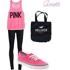 """""""Untitled #19"""" by anett-keberlova on Polyvore #polyvore #outfit #pink #vans #hollister"""