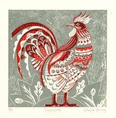 My goodness, SarahYoung5 is talented! Cock  Relief / Letterpress Print by sarahyoung5 on Etsy, $97.00