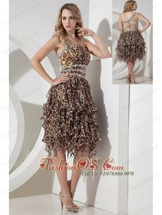 Sexy Empire One Shoulder Beading Short Prom Dress Tea-length Leopard- $135.65  http://www.fashionos.com  http://www.facebook.com/quinceaneradress.fashionos.us  The short asymmetrical skirt made from lots of scraps of leopard-print fabric resemble feathers from a distance. If you're looking for a unique dress to help you put your best fashion foot forward – look no further!