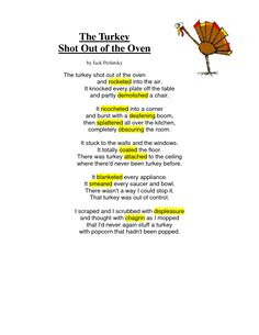 """""""The Turkey Shot Out of the Oven"""" by Jack Prelutsky (children's author) ~ great way to integrate vocabulary enjoy Thanksgiving :) Silly Poems, Funny Poems, Kids Poems, Jack Prelutsky Poems, November Poem, Turkey Poem, Thanksgiving Poems, English Rhymes, Third Grade Writing"""