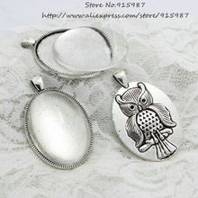 US $5.44 Sweet Bell 5set Antique silver Alloy Cameo 33*51mm (Fit30*40mm Dia)Oval Cabochon owl Pendant Settings+Clear Glass Cabochon D0620. Aliexpress product