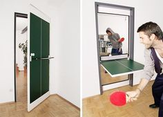 Interior Door Design Flips & Doubles as Ping-Pong Table – Game Room İdeas 2020 Hinged Table, Design Innovation, Door Table, Transforming Furniture, Door Design Interior, 3d Home, Ping Pong Table, Ping Pong Room, Saving Ideas