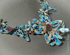 Detail: Turquoise enameled silver necklace set with alexandrite stones. By: Suzanne El Masry